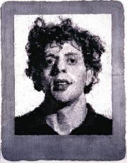 """Chuck Close's """"Phil/Manipulated"""" is part of the """"Guild Hall: An Adventure in the Arts"""" exhibit."""