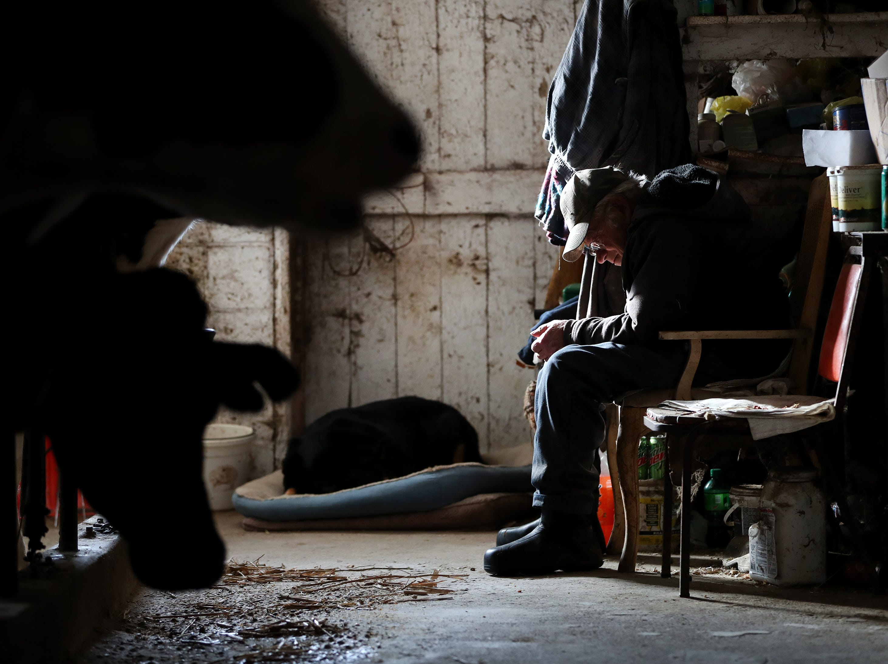 John Rieckmann, 79, takes a break from daily chores in his dairy farm's barn Wednesday Feb. 13, 2019, in Fremont, Wis. Rieckmann and his wife Mary are struggling to make ends meet and have started a GoFundMe Campaign to help raise to support their farm.Danny Damiani/USA TODAY NETWORK-Wisconsin