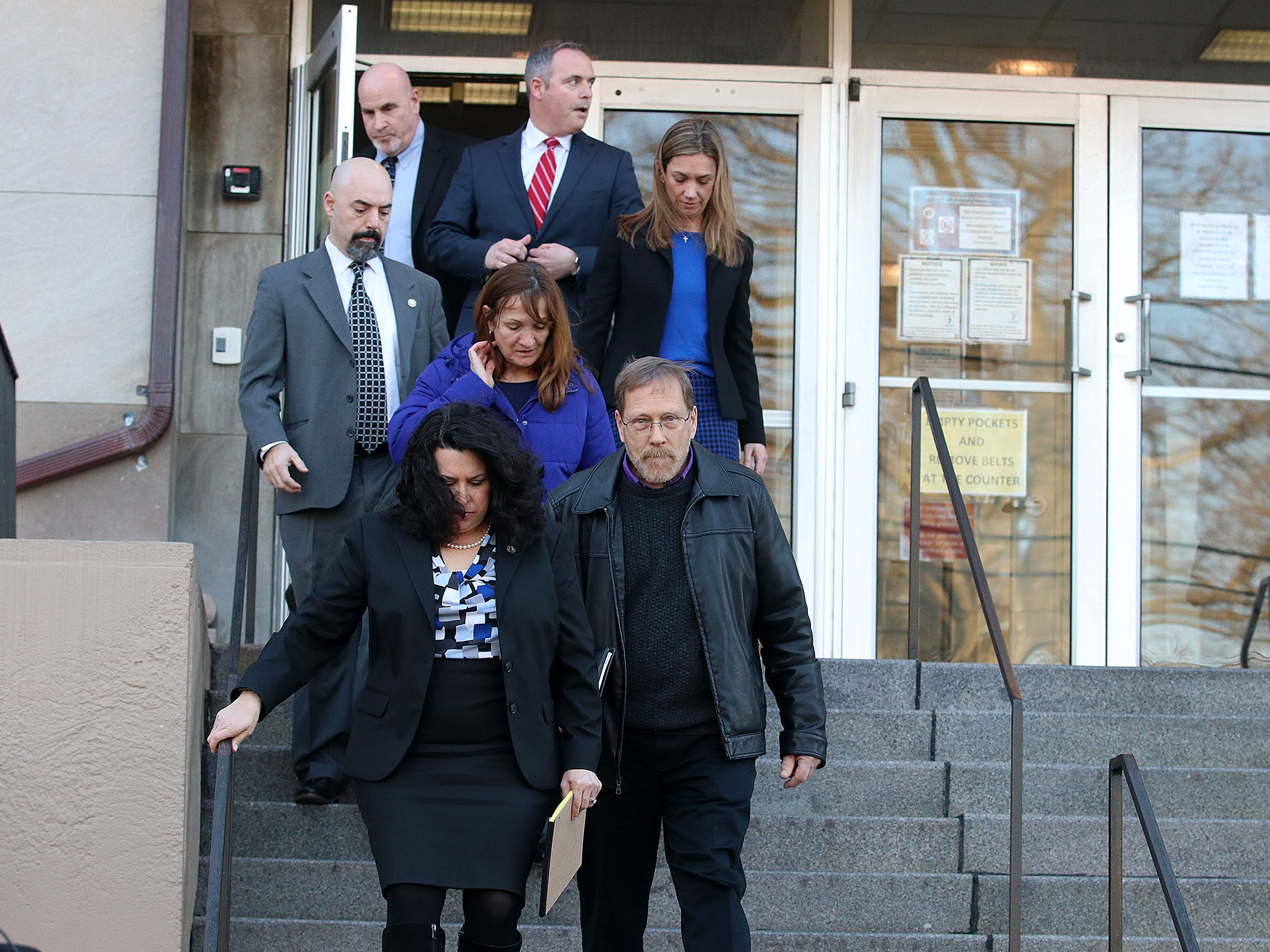 Michael Stern, father of Sarah Stern, attends a press conference with members of the Monmouth County Prosecutor's Office after the the jury found Liam McAtasney guilty on all charges in the murder of former high school classmate, Sarah Stern, at the Monmouth County Courthouse in Freehold, NJ Tuesday, February 26, 2019.