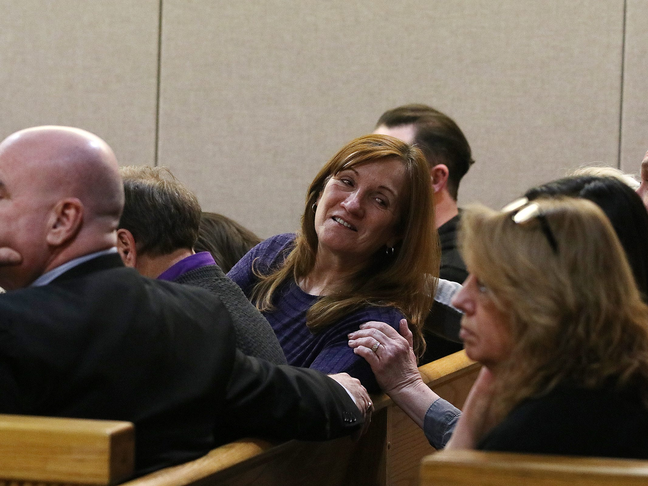 Kristine Eckert, the girlfriend of Sarah Stern's father, MIchael Stern, reacts as the jury finds Liam McAtasney, who is charged with the murder of former high school classmate, Sarah Stern, guilty on all charges before Superior Court Judge Richard W. English at the Monmouth County Courthouse in Freehold, NJ Tuesday, February 26, 2019.