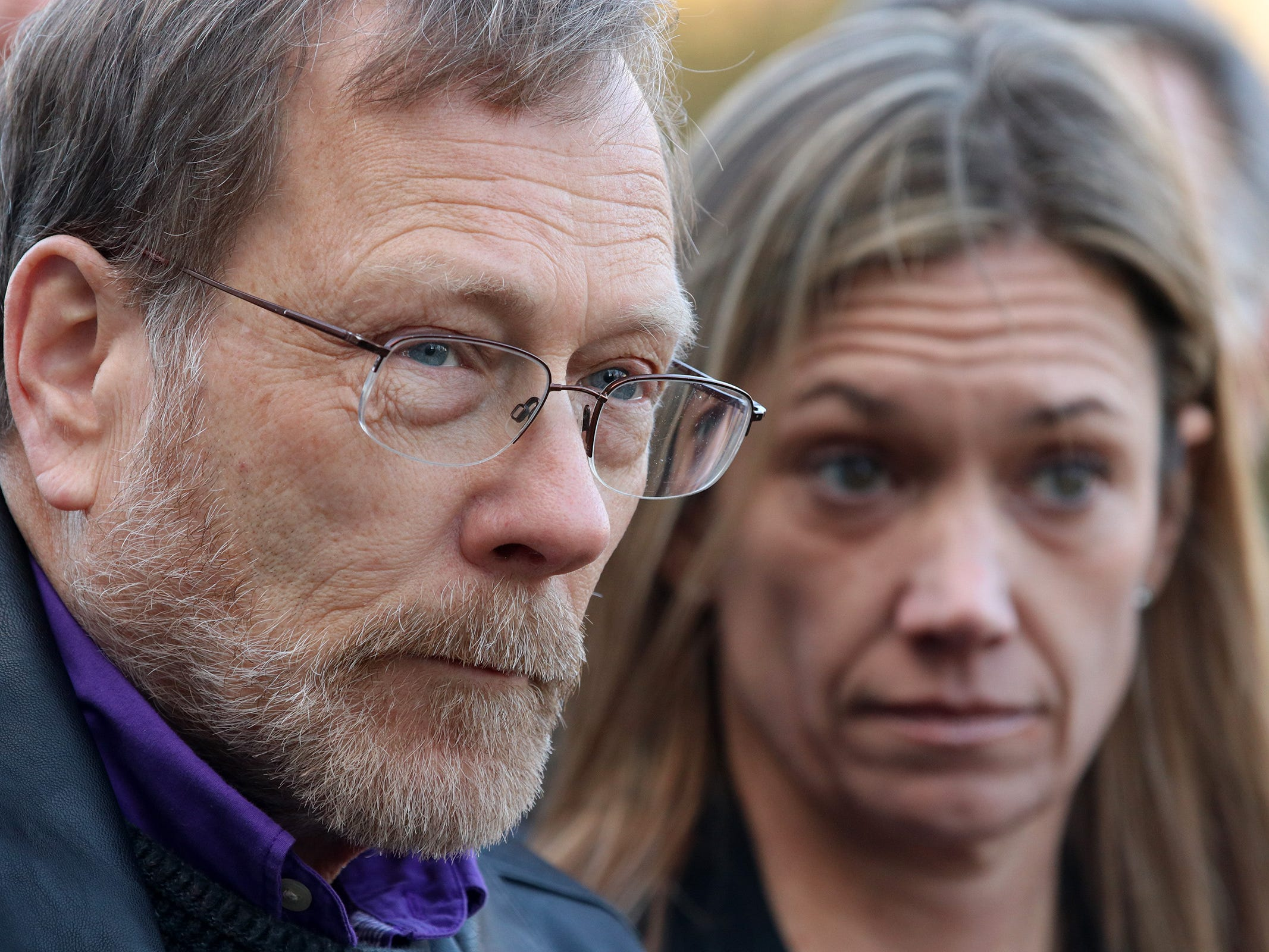 Michael Stern, father of Sarah Stern, speaks during a press conference with members of the Monmouth County Prosecutor's Office after the the jury found Liam McAtasney guilty on all charges in the murder of former high school classmate, Sarah Stern, at the Monmouth County Courthouse in Freehold, NJ Tuesday, February 26, 2019.
