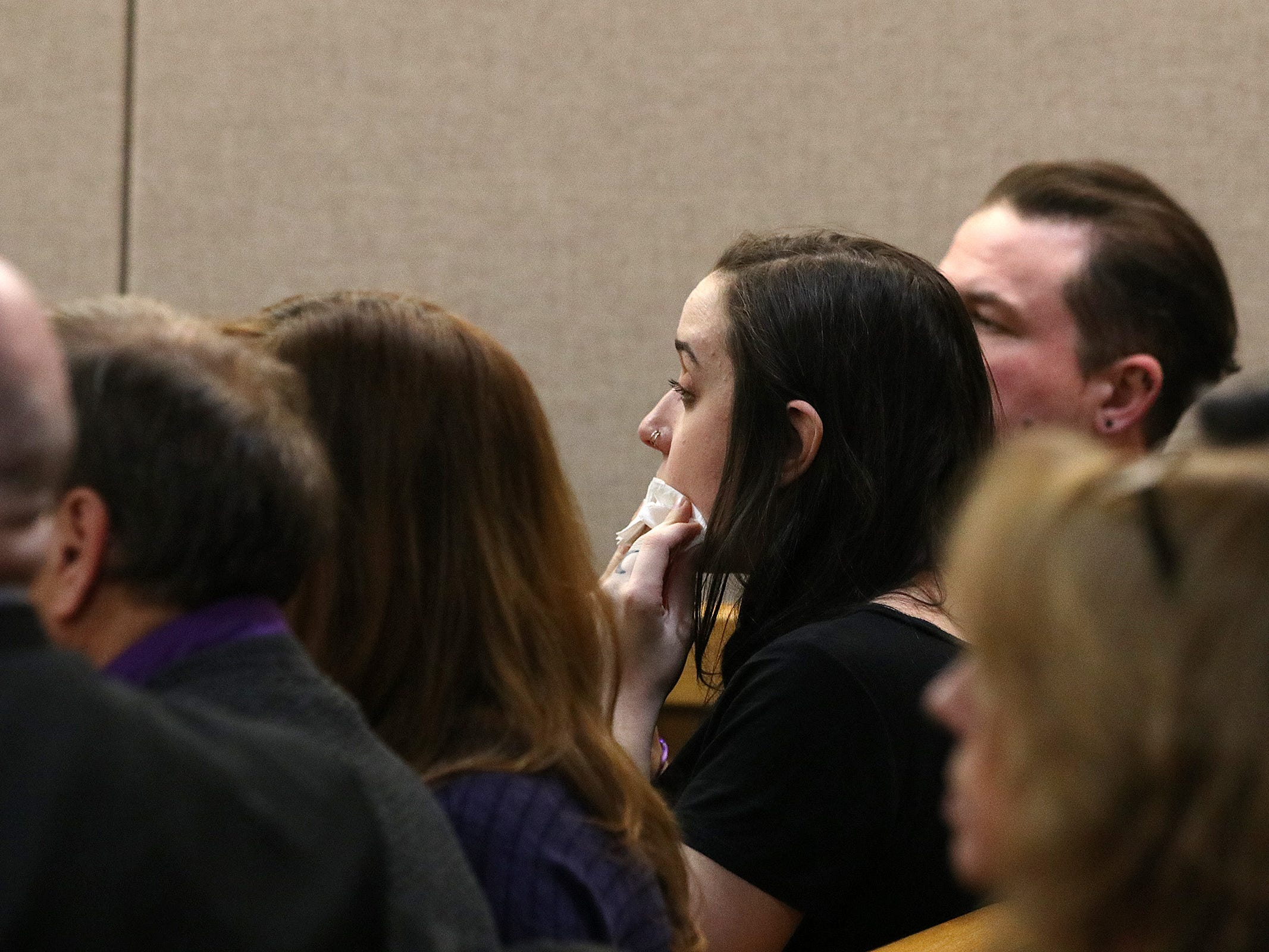 Friends and family members of Sarah Stern react as the jury finds Liam McAtasney, who is charged with the murder of former high school classmate, Sarah Stern, guilty on all charges before Superior Court Judge Richard W. English at the Monmouth County Courthouse in Freehold, NJ Tuesday, February 26, 2019.