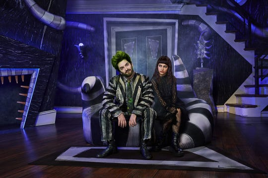 "Alex Brightman and Sophia Anne Caruso in ""Beetlejuice."""