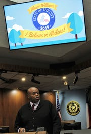 Mayor Anthony Williams led his second State of the City address Monday evening at City Hall, citing a need for the community to draw closer and pushing hard for the downtown hotel project.