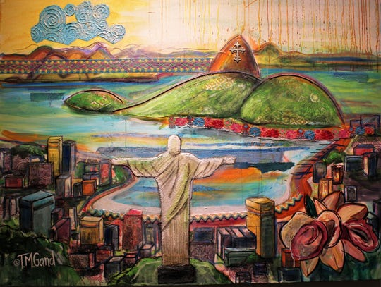 """Rainy Day in Rio: Christ the Redeemer"" is one of TM Gand's colorful pieces in her Center for Contemporary Arts show titled ""Wonders of the World."""