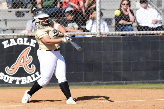 Abilene High's Sydnee Killam (4) hits a three-run home run in the third inning against Richland High on Tuesday, Feb. 26, 2019. Killam's homer capped off a five-run inning as the Lady Eagles went on to win 5-1.