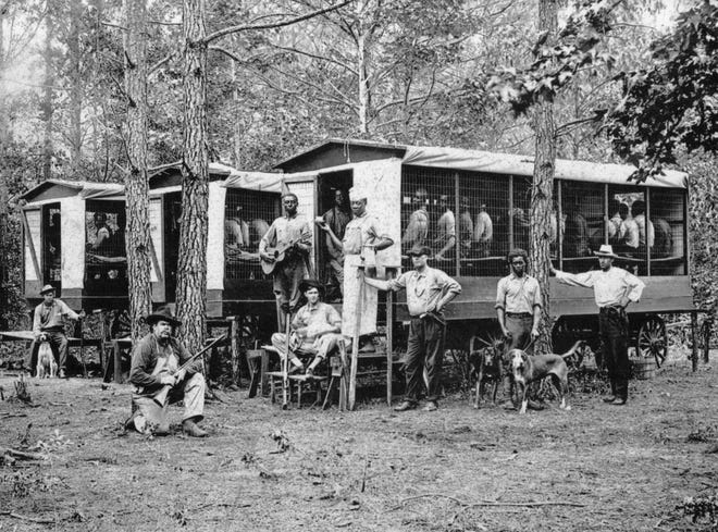 Convict road crew, photo courtesy of Terry Ruscin, local history author and Hendersonville Times-News columnist. Visit hendersonheritage.com.