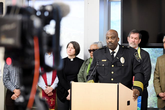 In front of community leaders Buncombe County Sheriff Quentin Miller announces that his office will no longer honor ICE detainers in a press conference at 200 college street on Feb. 26, 2019. ICE detainers are holds placed on inmates who federal immigration officials suspect are in the country illegally.