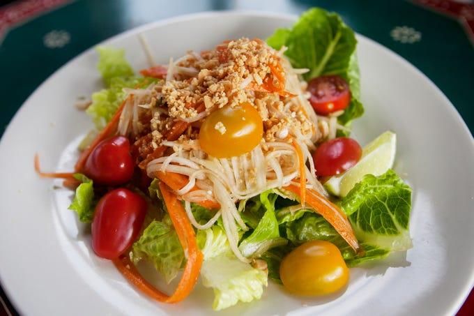A papaya salad at the Boon Choo Thai Express in Flat Rock Feb. 21, 2019.