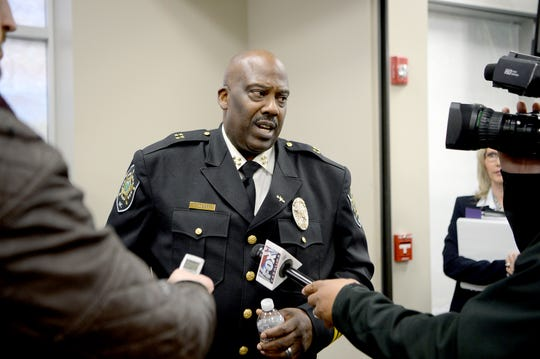 Buncombe County Sheriff Quentin Miller is interviewed by members of the press after announcing that his office will no longer honor ICE detainers in a press conference at 200 college street on Feb. 26, 2019. ICE detainers are holds placed on inmates who federal immigration officials suspect are in the country illegally.
