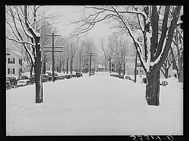 Snow blankets Woodstock, Vermont on Town Meeting Day. Photograph created/published March 1940. Photographer Marion Post Wolcott, 1910-1990.