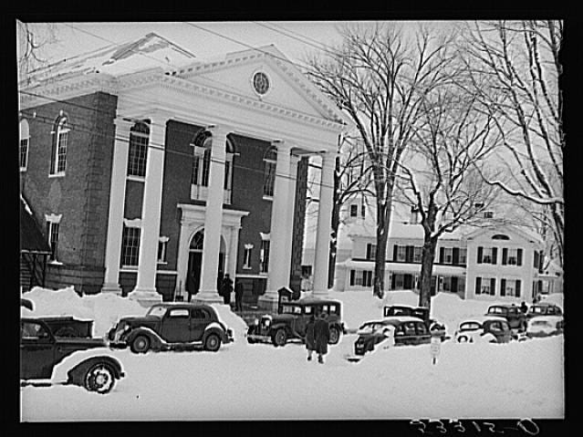 Woodstock, Vermont's town hall is pictured on Town Meeting Day. Photograph created/published March 1940. Photographer Marion Post Wolcott, 1910-1990.