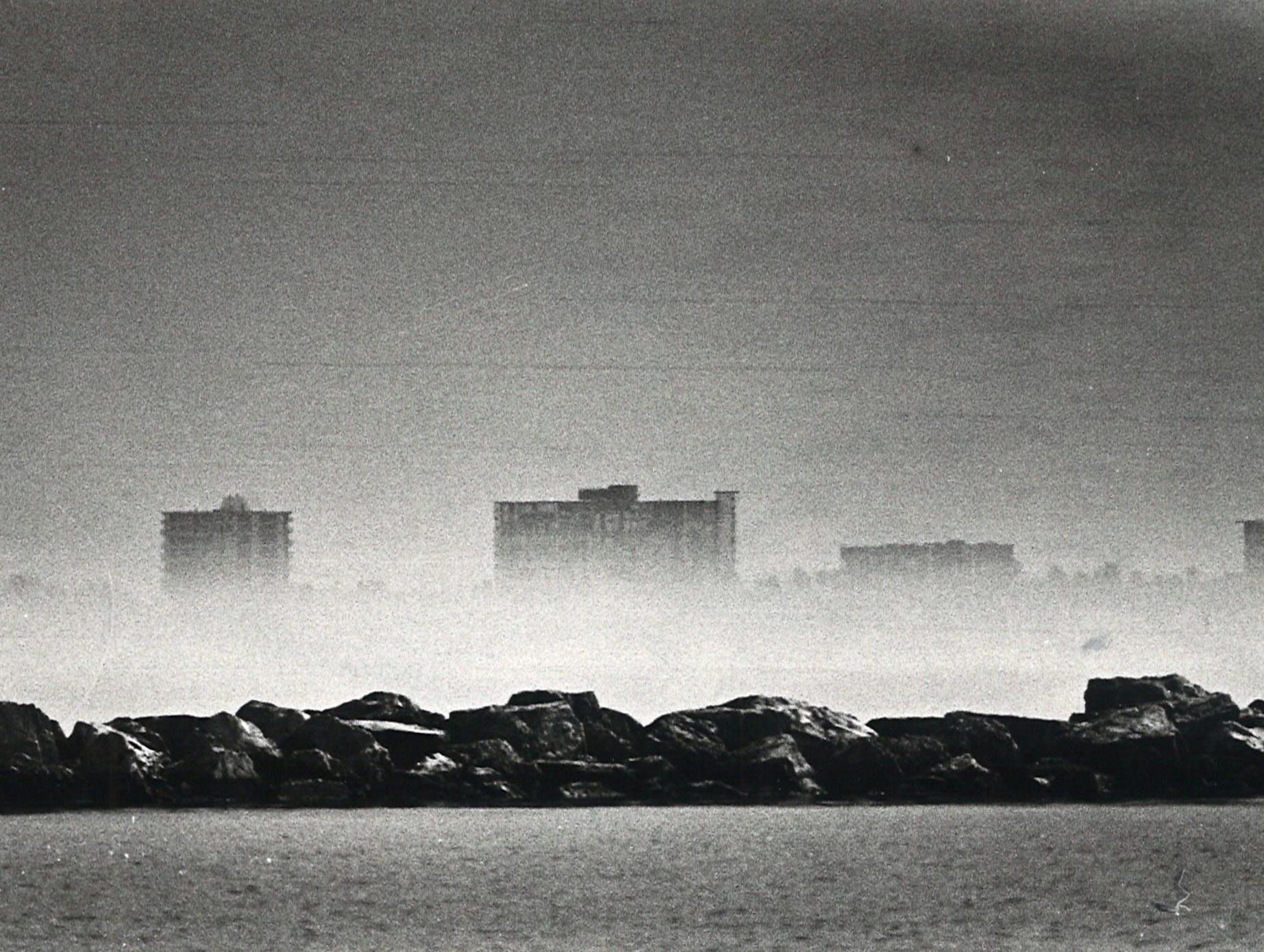 The condos along Ocean Drive hide in the fog along Corpus Christi Bay on Jan. 6, 1983.