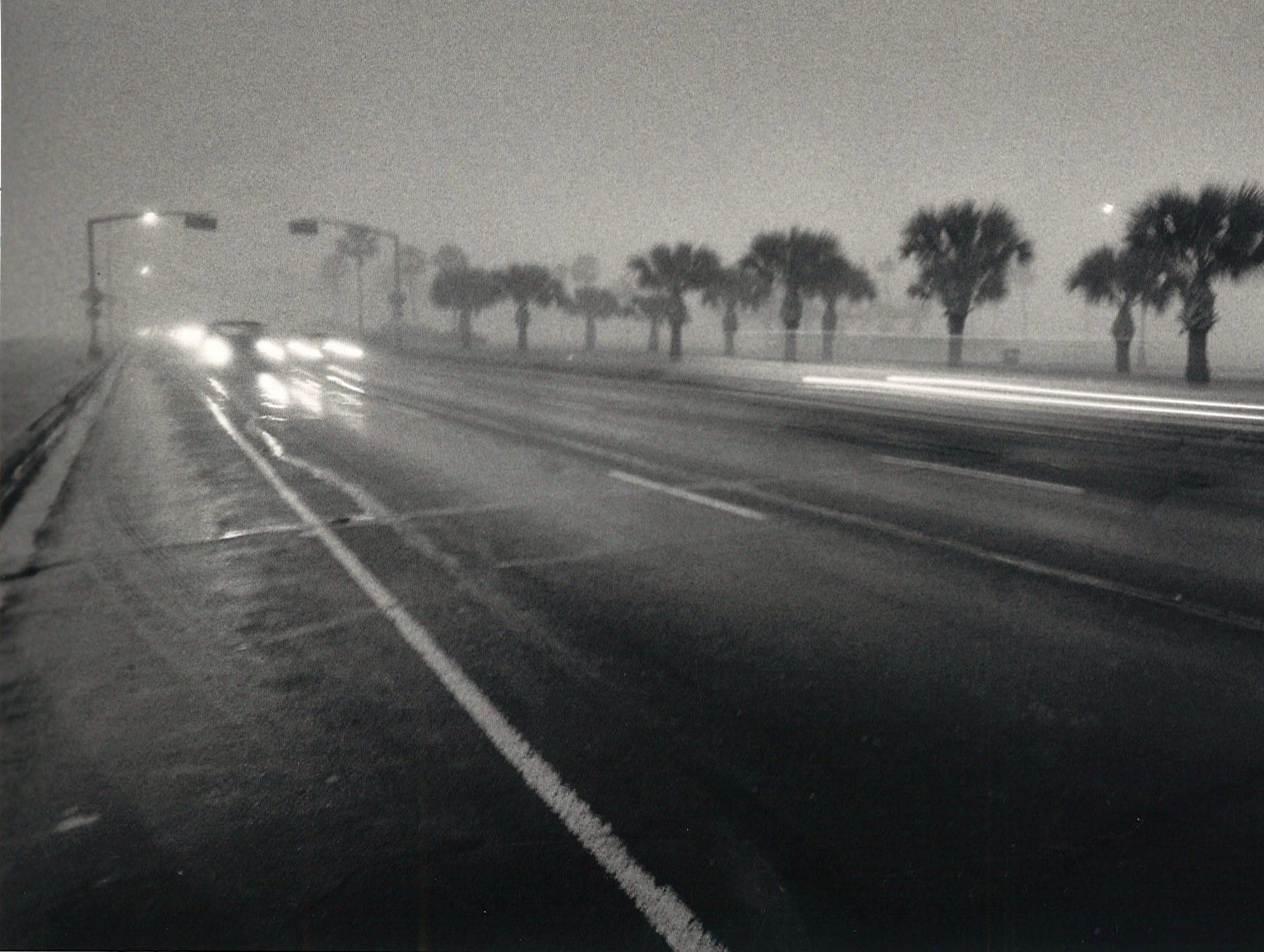 Fog and slick streets made Shoreline Blvd. treacherous for motorists in Corpus Christi on Dec. 27, 1985.