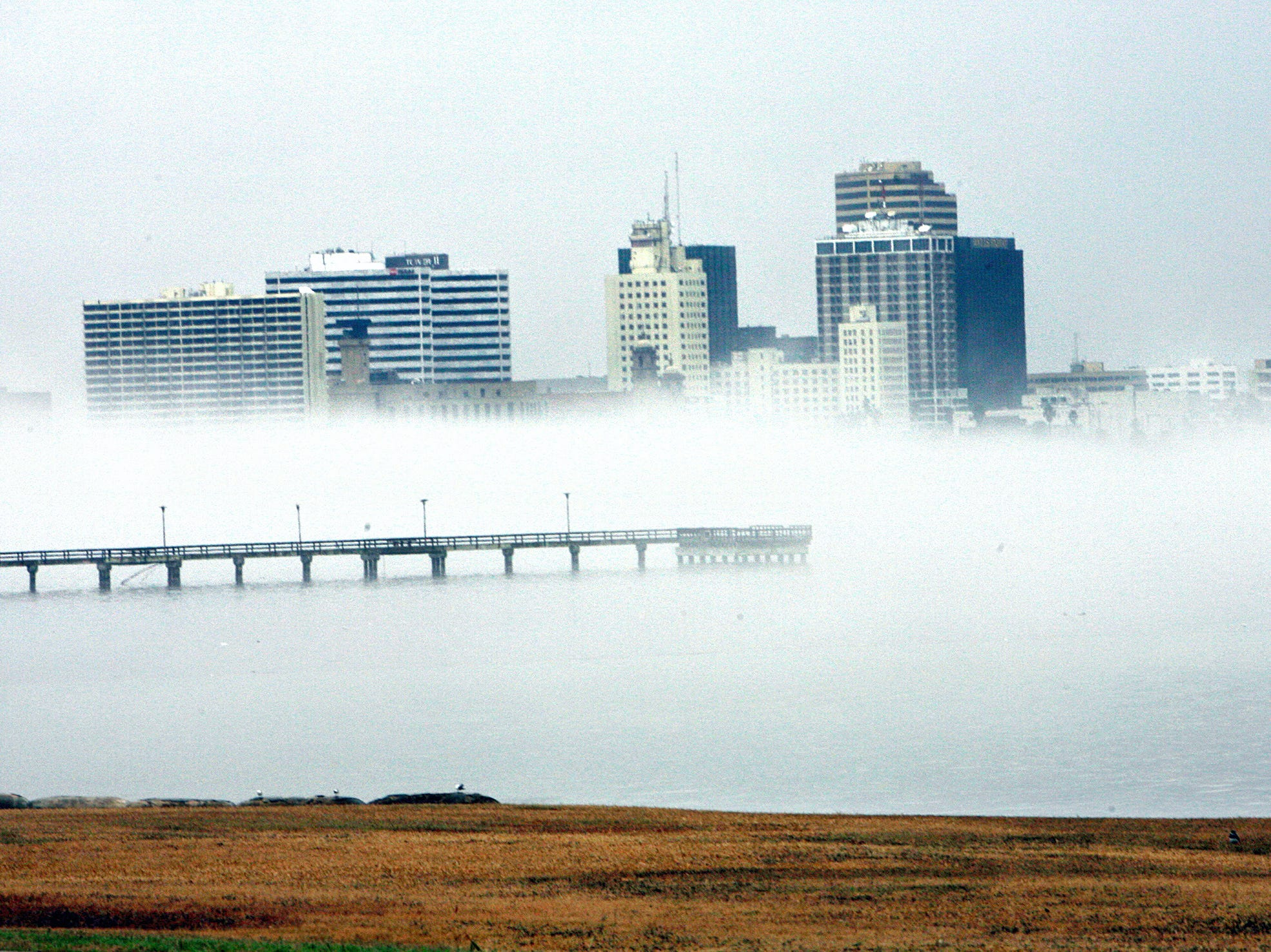 Fog sits heavily on downtown Corpus Christi in December 2008.