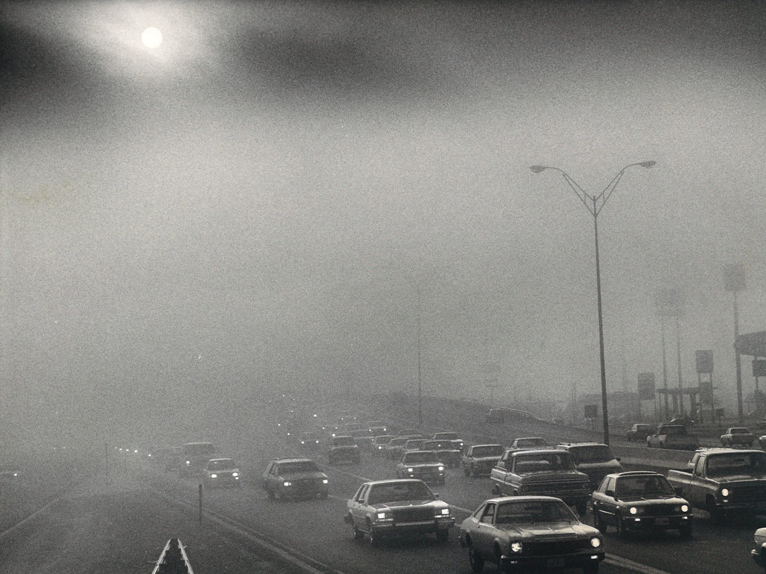 Early morning traffic on SPID at Weber had a foggy commute on Nov. 18, 1986 as the sun tried to shine.