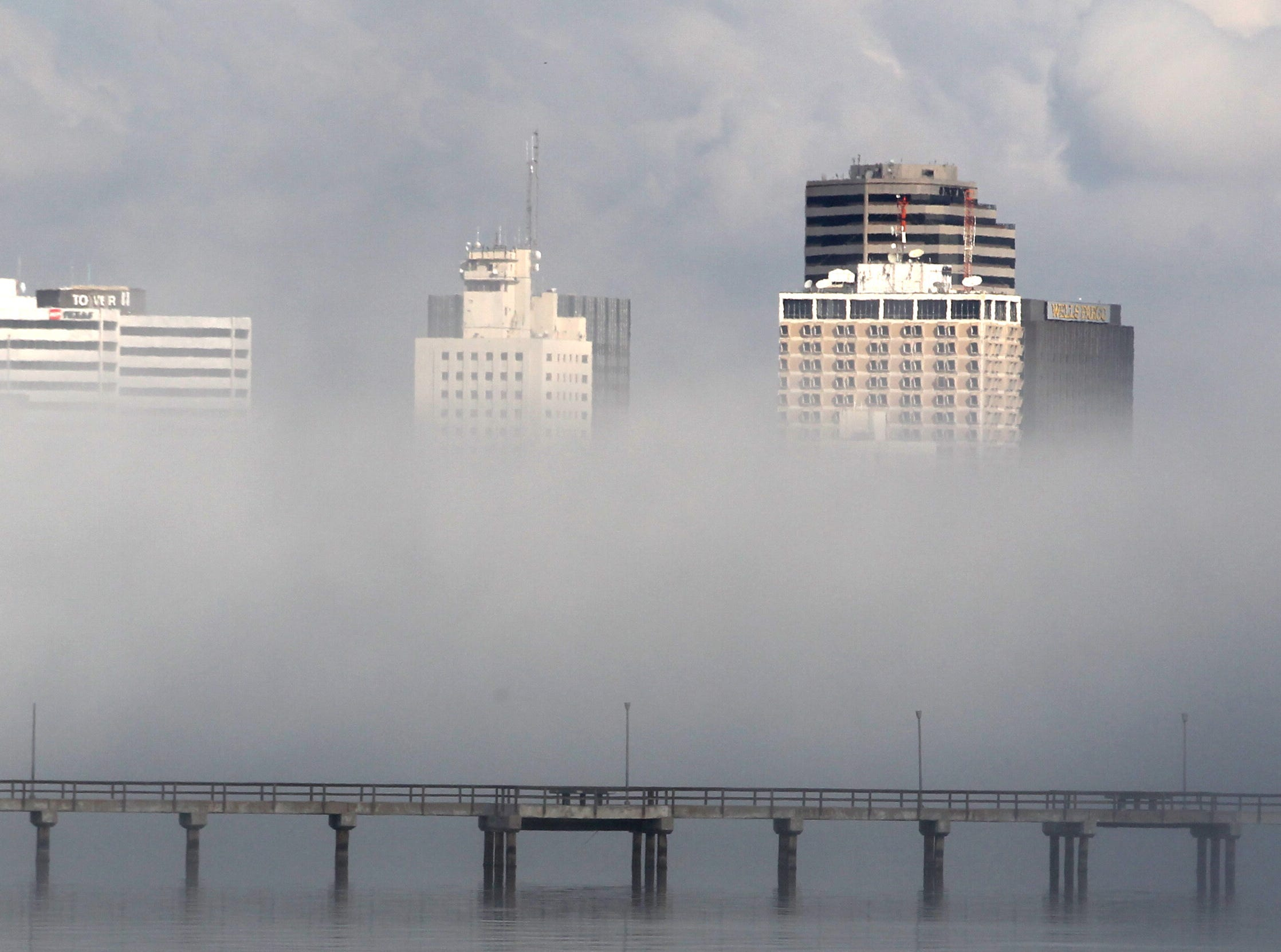 Fog blanketed downtown Corpus Christi on Oct. 31, 2012.