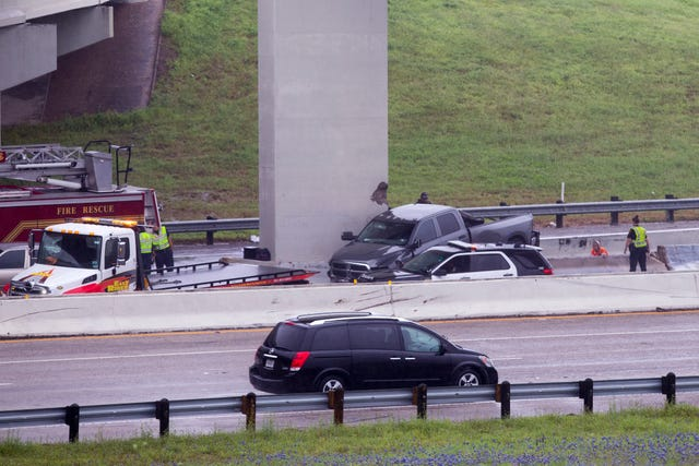 Police redirect traffic on Interstate Highway 37 after crashes