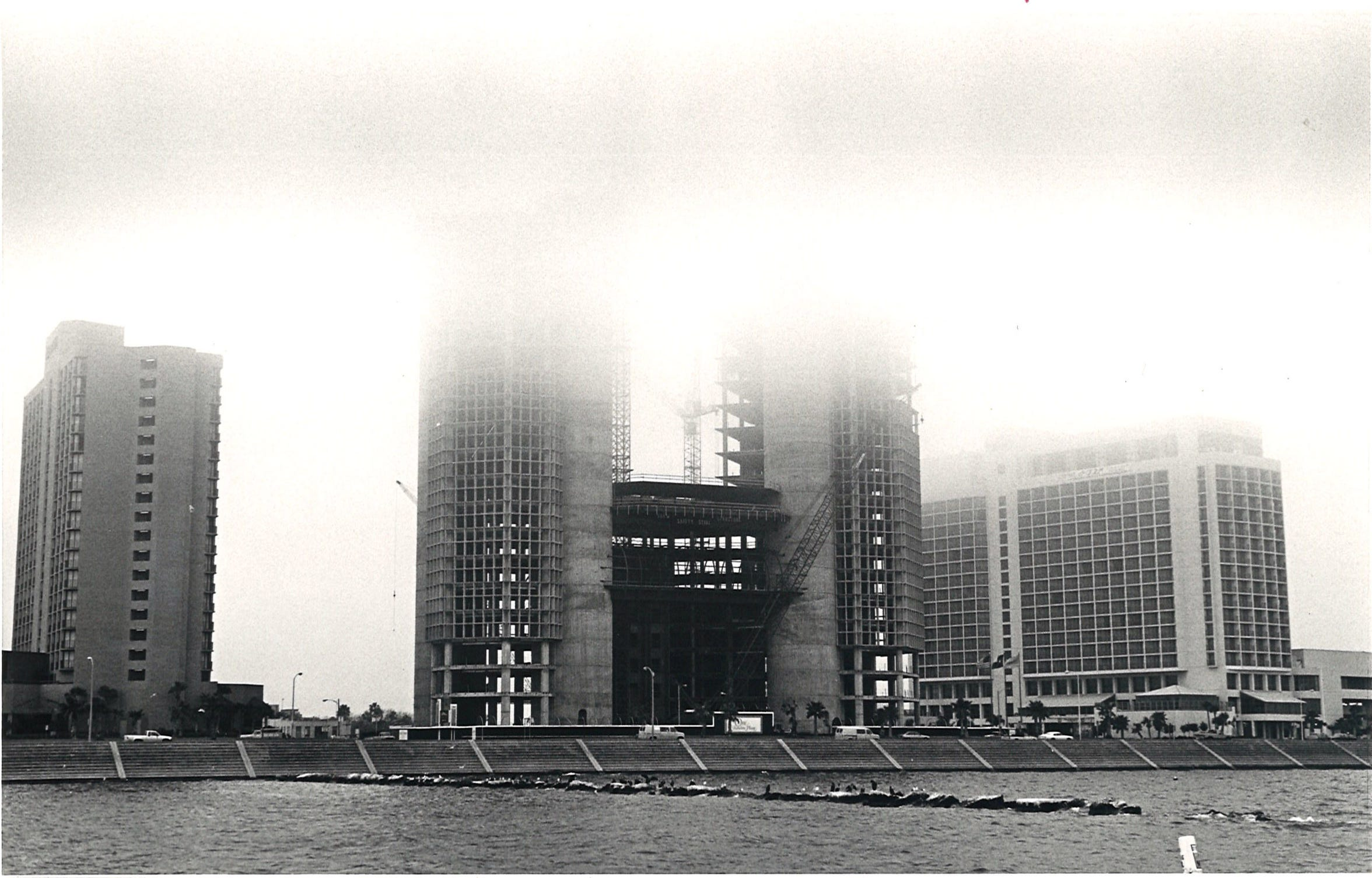 Fog encases the construction of One Shoreline Plaza in downtown Corpus Christi on Feb. 4, 1987.