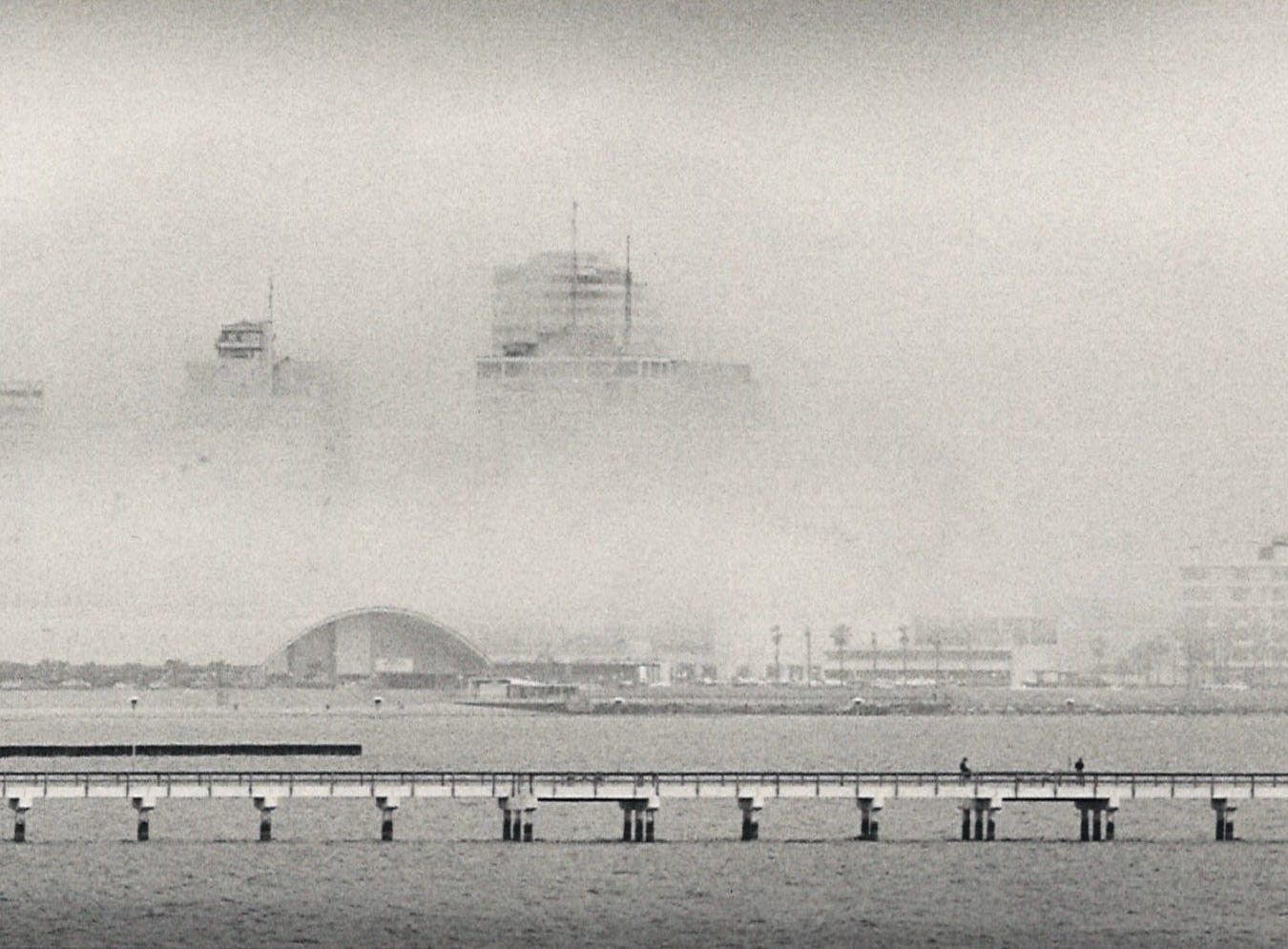 Buildings in downtown Corpus Christi hide in the fog on March 2, 1985.