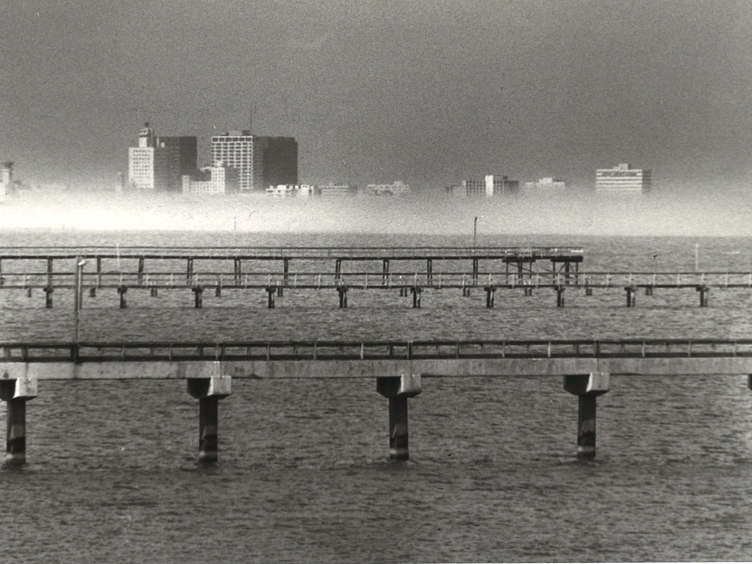 Fog on Corpus Christi Bay blocks the view of downtown on Jan. 17, 1979.