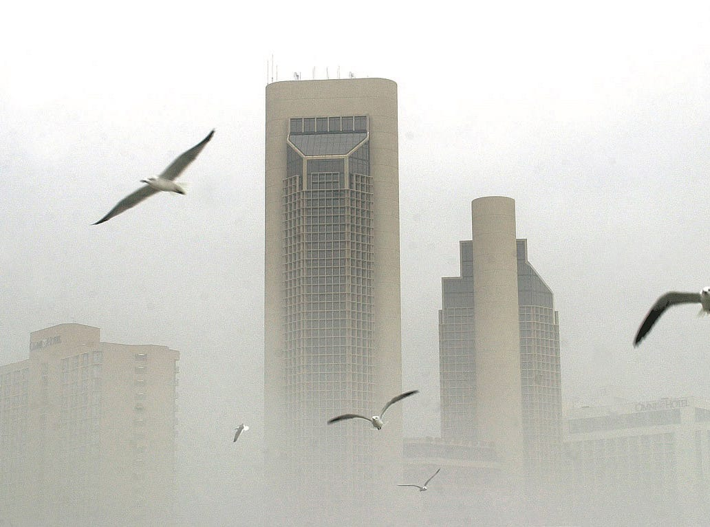 Sea gulls fly through the heavy fog in downtown Corpus Christi on Jan. 7, 2001.