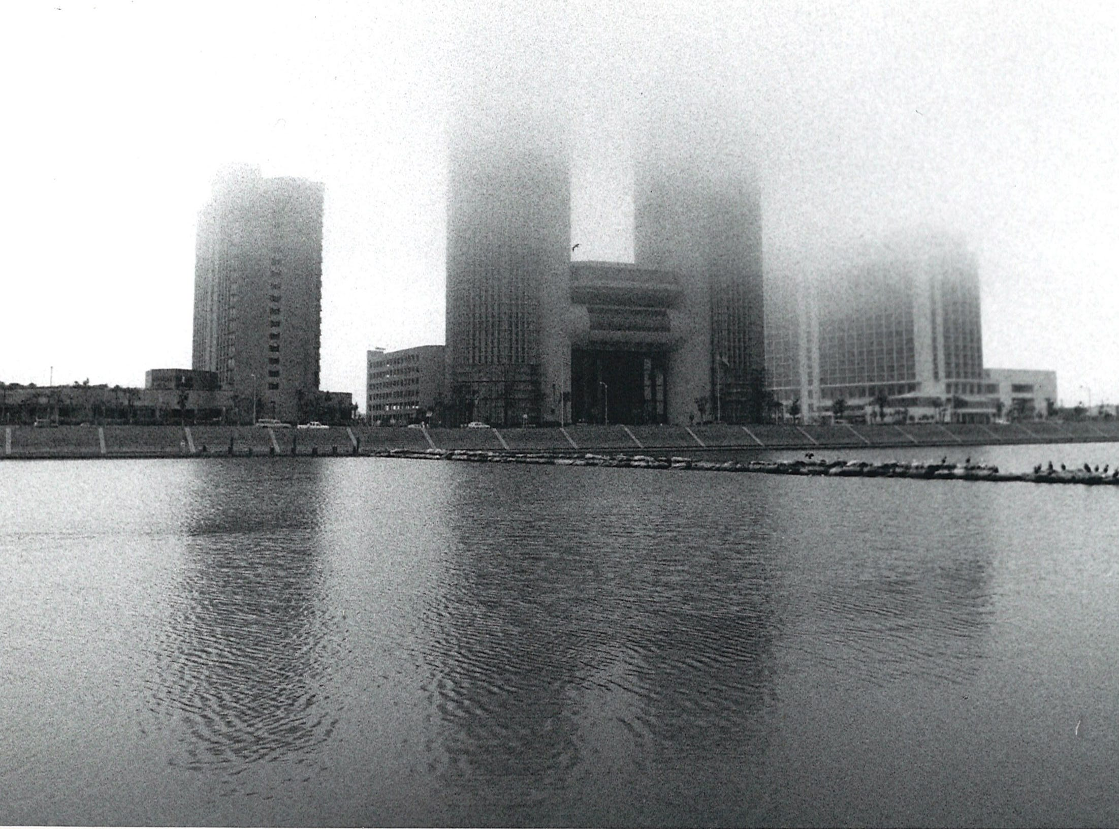 Downtown Corpus Christi covered in heavy fog on Jan. 10, 1990.