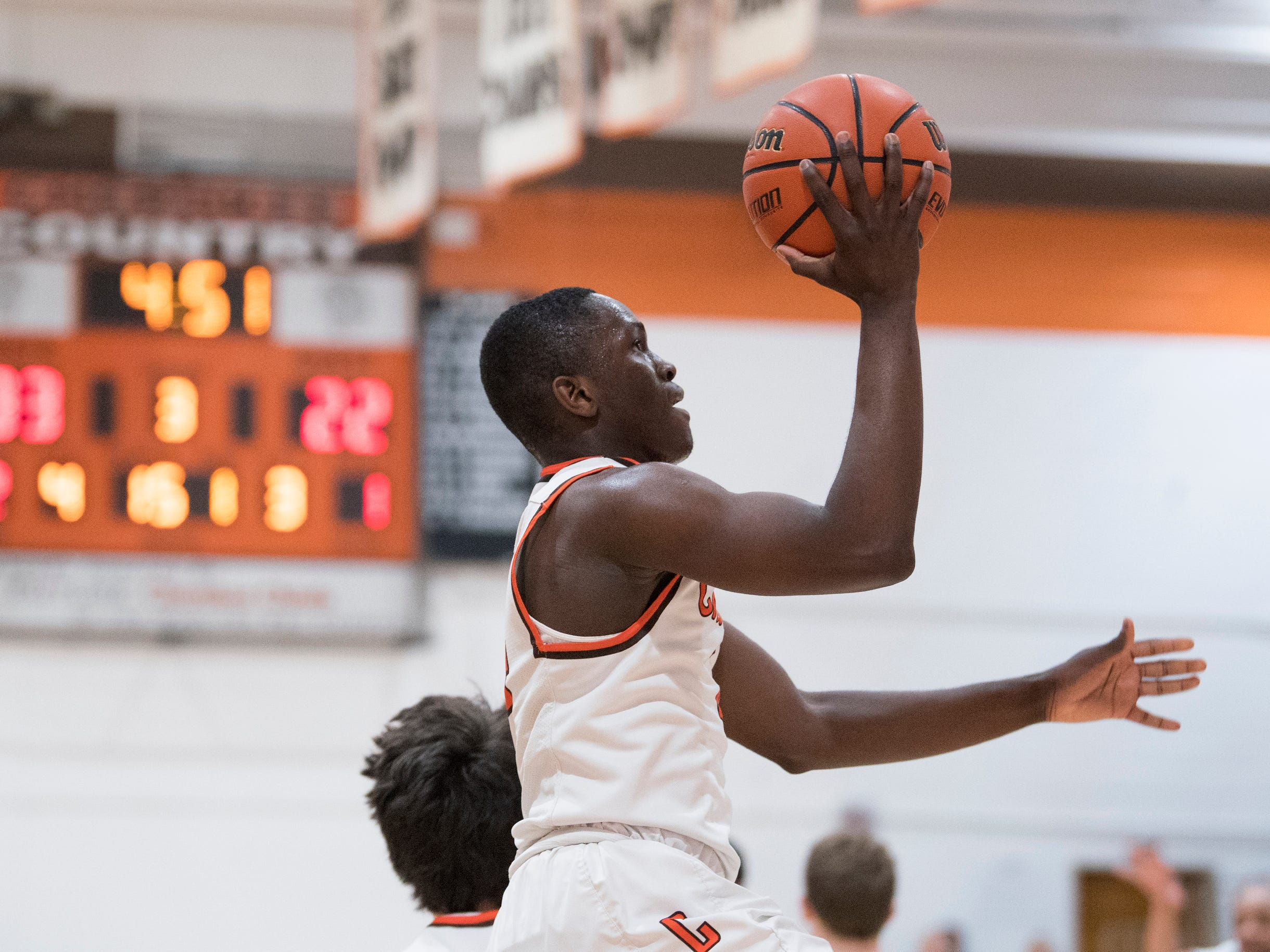 Cherokee's Olare Oladipo (4) drives to the basket against Shawnee Monday, Feb. 25, 2019 at Cherokee High School in Marlton, N.J. Cherokee won 54-38.