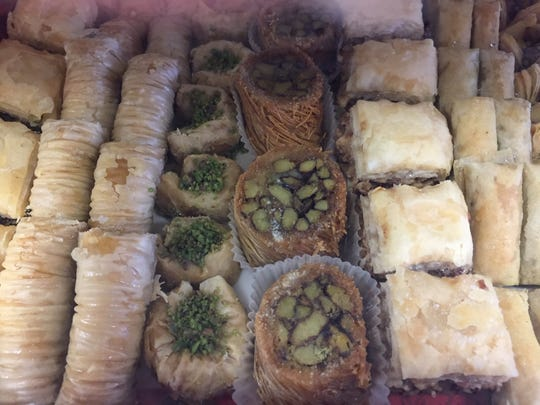 Packages of traditional Middle Eastern pastries are sold at Ammon Mediterranean Market in Cherry Hill.