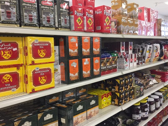 A vast array of Middle Eastern teas are for sale at Ammon Mediterranean Market in Cherry Hill.