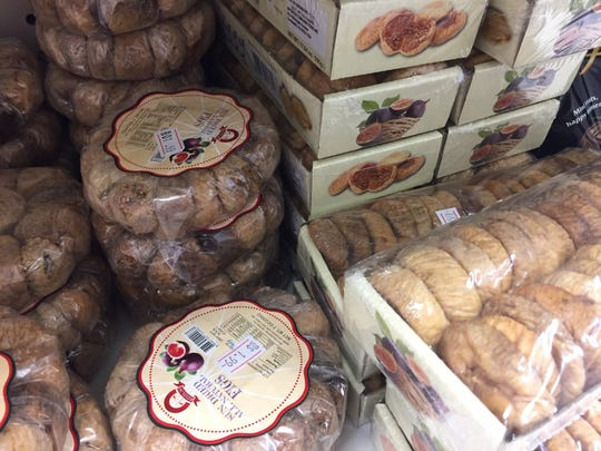 Stacks of dried figs are available for snacking or baking at Ammon Mediterranean Market in Cherry Hill.