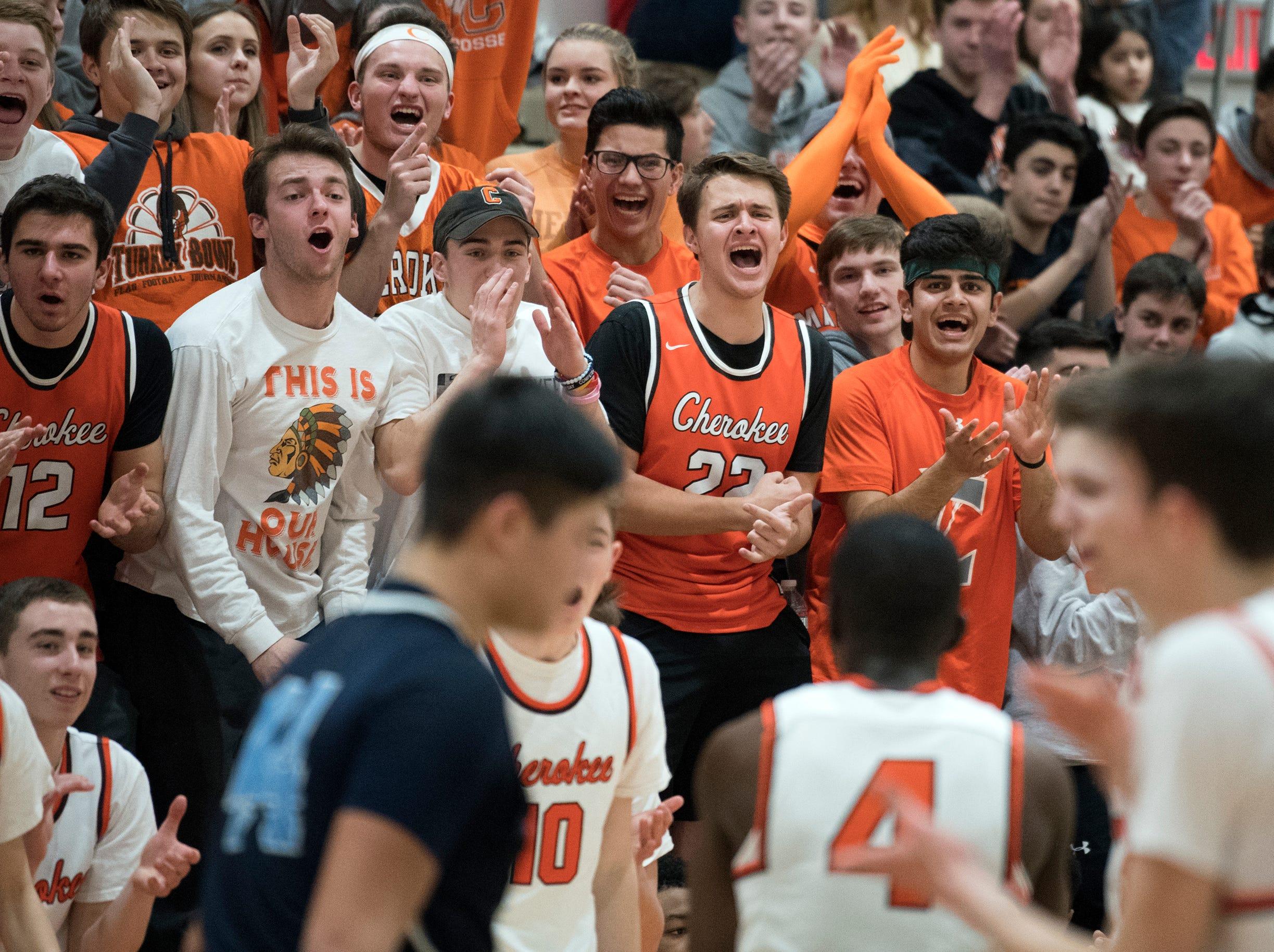 Cherokee fans cheer during a game against Shawnee Monday, Feb. 25, 2019 at Cherokee High School in Marlton, N.J. Cherokee won 54-38.