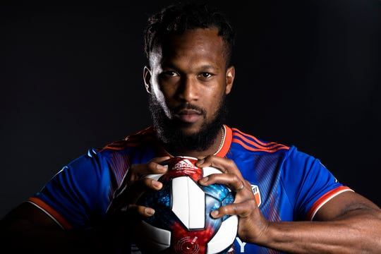 FC Cincinnati defender Kendall Waston poses for a photograph at FC Cincinnati's media day on Tuesday, Feb. 26, 2019, in Cincinnati.