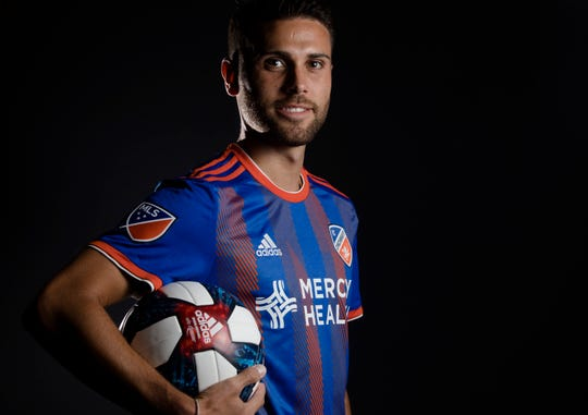 FC Cincinnati midfielder Leonardo Bertone  poses for a photograph at FC Cincinnati's media day on Tuesday, Feb. 26, 2019, in Cincinnati.