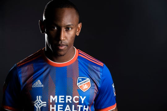 FC Cincinnati forward Rashawn Dally poses for a photograph at FC Cincinnati's media day on Tuesday, Feb. 26, 2019, in Cincinnati.