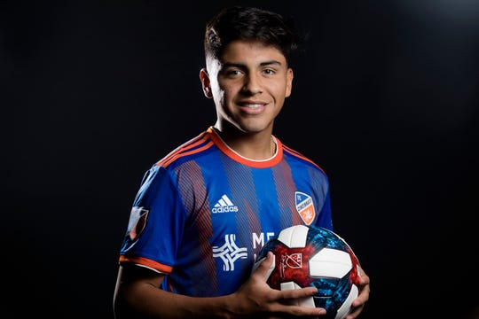 FC Cincinnati midfielder Frankie Amaya  poses for a photograph at FC Cincinnati's media day on Tuesday, Feb. 26, 2019, in Cincinnati.