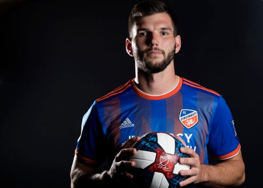 FC Cincinnati defender Forrest Lasso  poses for a photograph at FC Cincinnati's media day on Tuesday, Feb. 26, 2019, in Cincinnati.