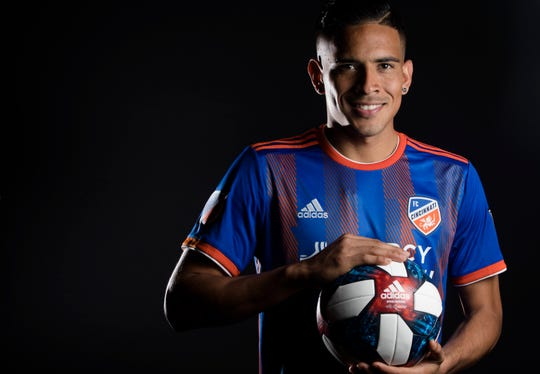 FC Cincinnati midfielder Victor Ulloa  poses for a photograph at FC Cincinnati's media day on Tuesday, Feb. 26, 2019, in Cincinnati.