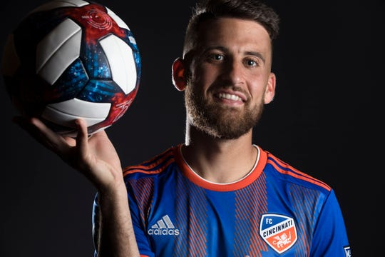 FC Cincinnati midfielder Nazmi Albadawi poses for a photograph at FC Cincinnati's media day on Tuesday, Feb. 26, 2019, in Cincinnati.