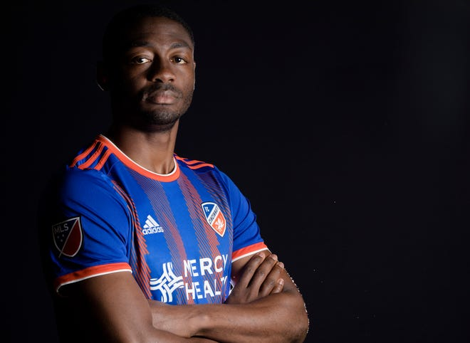 FC Cincinnati forward Fanendo Adi poses for a photograph at FC Cincinnati's media day on Tuesday, Feb. 26, 2019, in Cincinnati.
