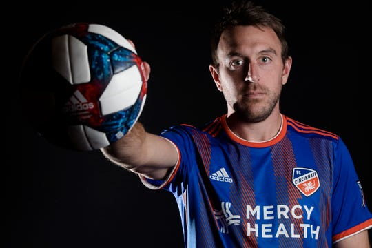 FC Cincinnati midfielder Eric Alexander  poses for a photograph at FC Cincinnati's media day on Tuesday, Feb. 26, 2019, in Cincinnati.