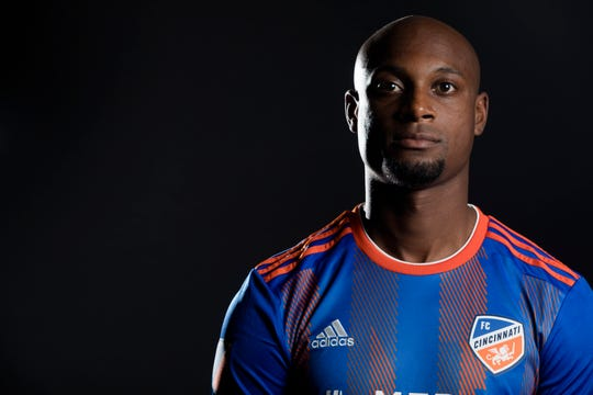 FC Cincinnati defender Justin Hoyte  poses for a photograph at FC Cincinnati's media day on Tuesday, Feb. 26, 2019, in Cincinnati.