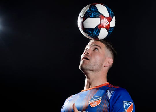 FC Cincinnati defender Greg Garza  poses for a photograph at FC Cincinnati's media day on Tuesday, Feb. 26, 2019, in Cincinnati.