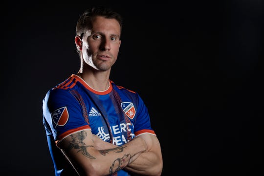 FC Cincinnati midfielder Corben Bone  poses for a photograph at FC Cincinnati's media day on Tuesday, Feb. 26, 2019, in Cincinnati.