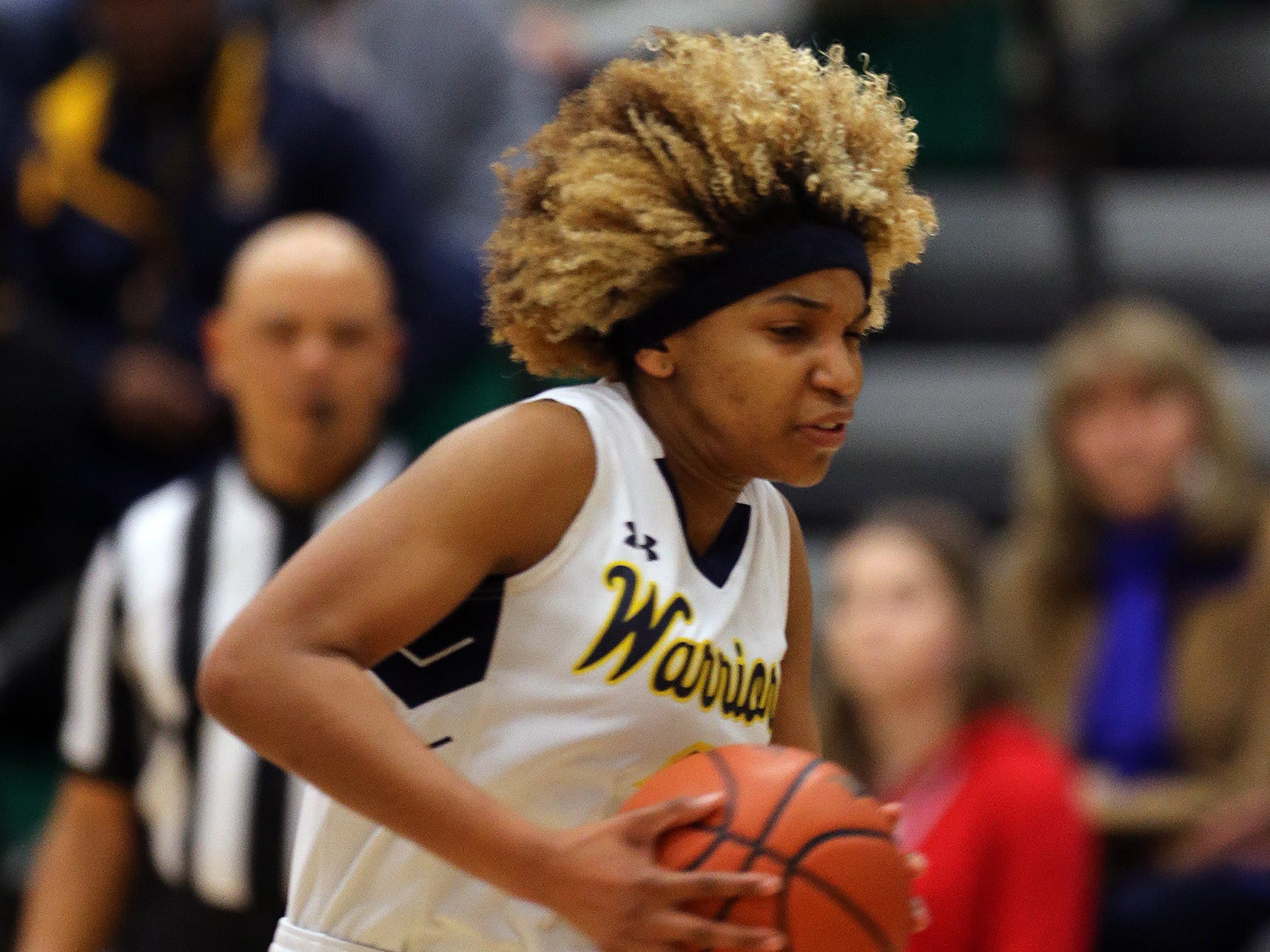 Franklin's Tiana Jackson moves the ball against Rutgers Prep during the Somerset County Tournament final on Saturday, Feb. 23, 2019.