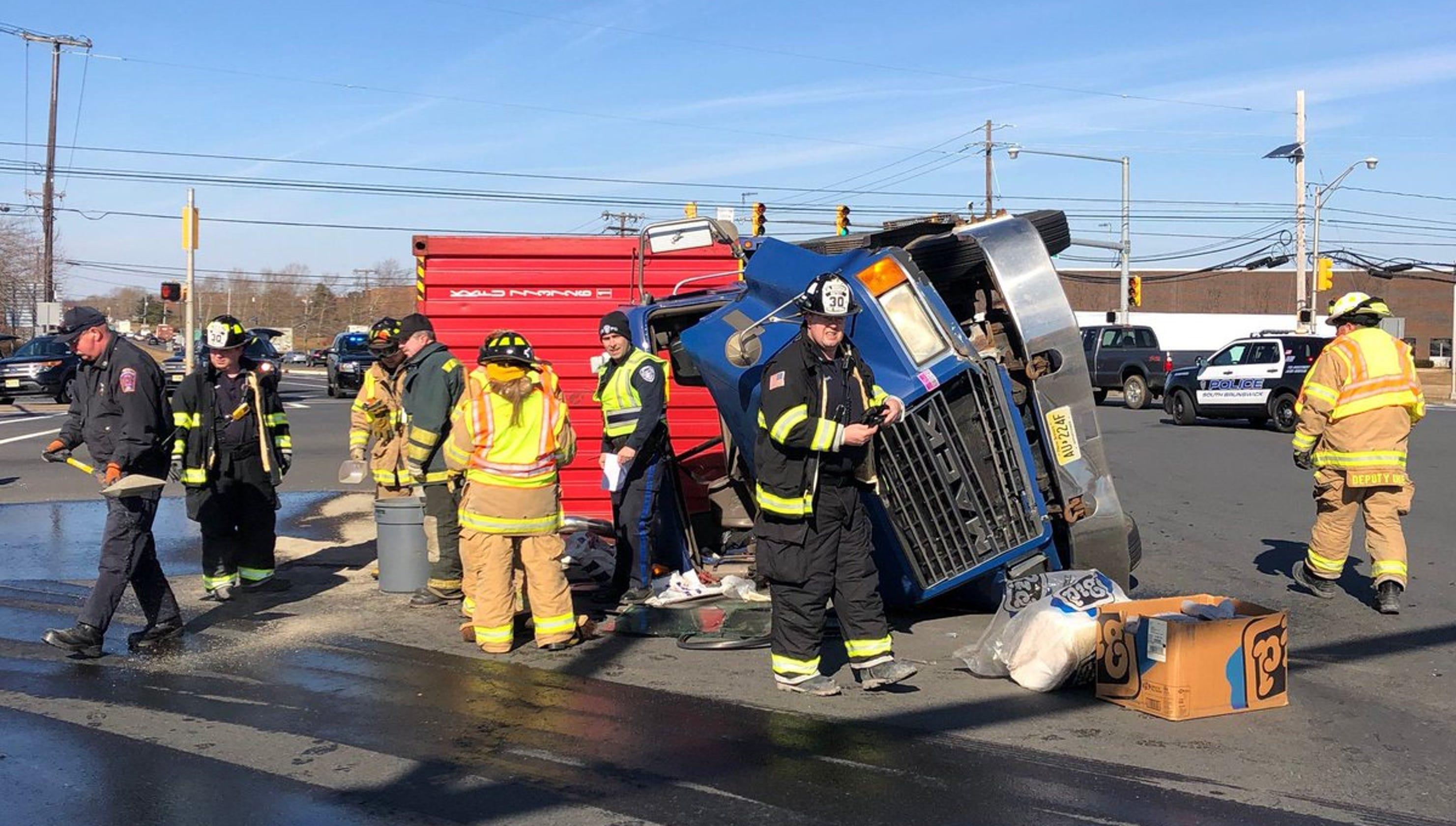 NJ traffic: Tractor-trailer overturns near NJ Turnpike exit