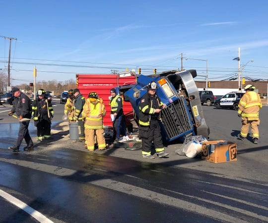 Tractor trailer overturns in South Brunswick in the area of Route 535 and Route 32 near the New Jersey Turnpike.