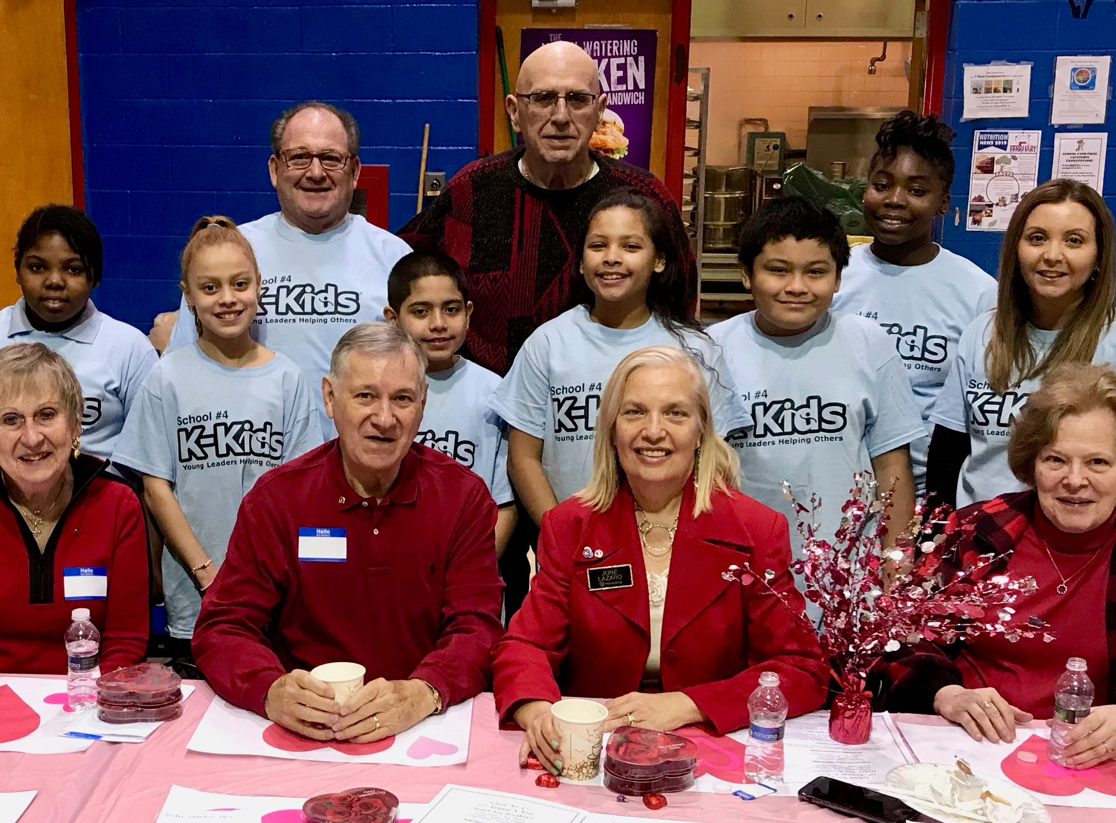 Heart3: Members of School No. 4's K-Kids, along with Principal Anthony Cataline and adviser Danielle Piscino, posing with members of the Linden Kiwanis Club, which sponsors the K-Kids.