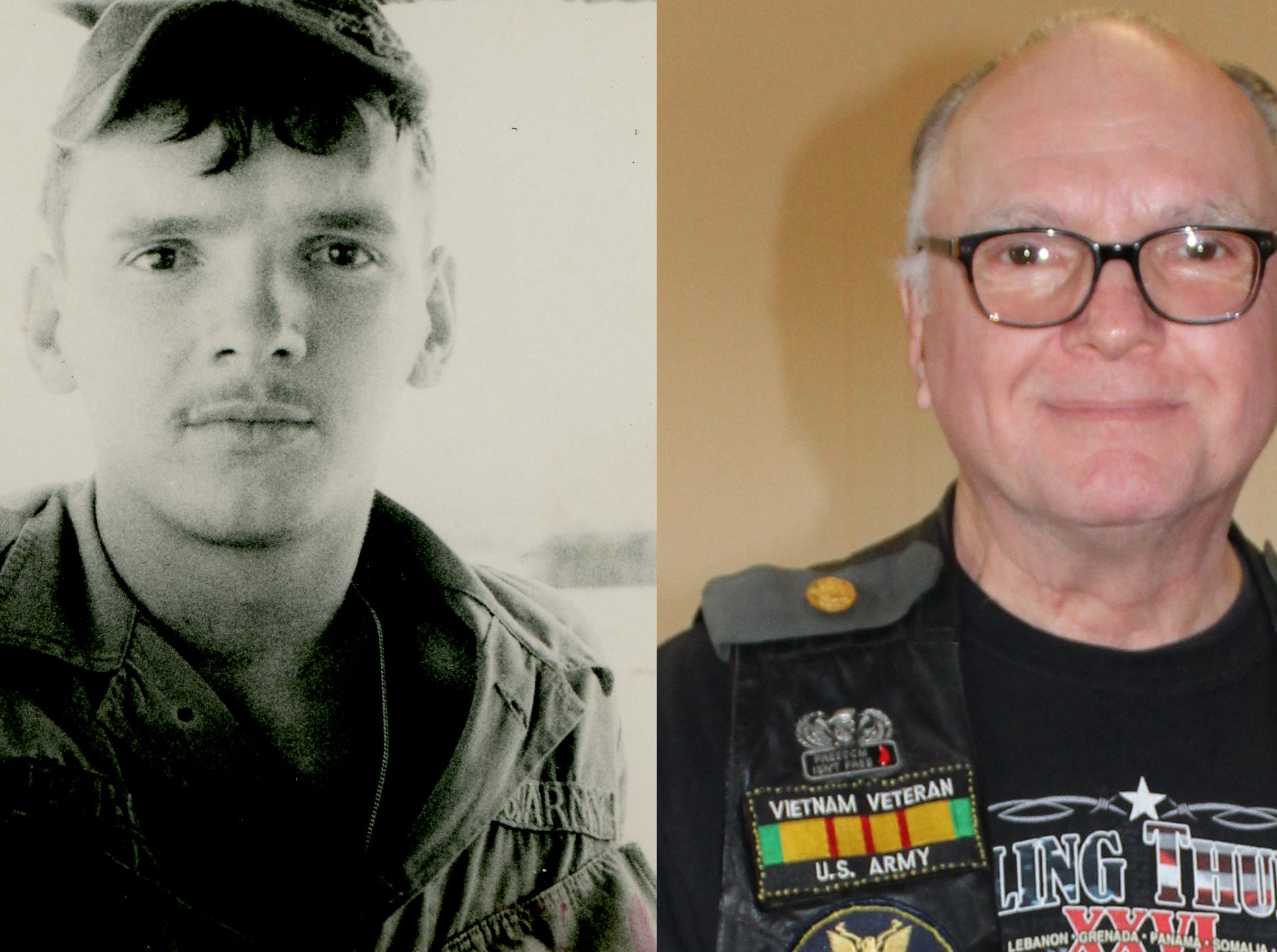Pictured is a side-by-side photograph of Rolling Thunder, Inc. member Ted Zabohonski in 1968/69 in Bình Định Province, Vietnam (left) and Zabohonski on Feb. 17, 2019 at the Rolling Thunder, Inc. meeting.