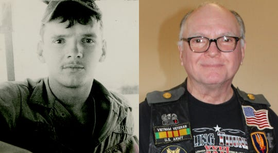 Pictured is a side-by-side photograph of Rolling Thunder, Inc. member Ted Zabohonski in 1968/69 in Bình Định Province, Vietnam (left) and Zabohonski on Feb.17, 2019 at the Rolling Thunder, Inc. meeting.